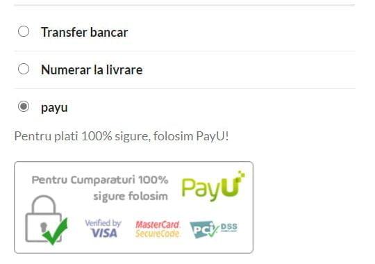 Plăți în siguranță prin PayU