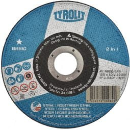 Disc abraziv pentru taiat metalinox 2in1, 125x1x22_23 Basic